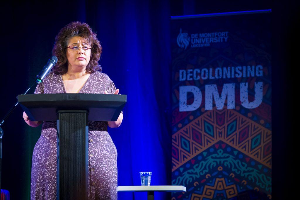 Kaushika opening the Decolonising DMU launch event